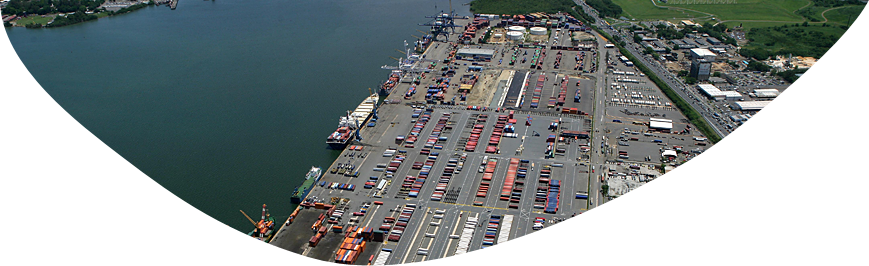 Bird's eye view of docking premises